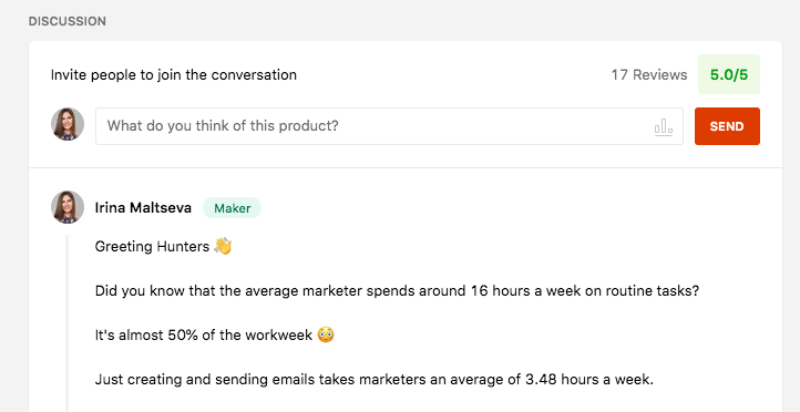 Product Hunt comments