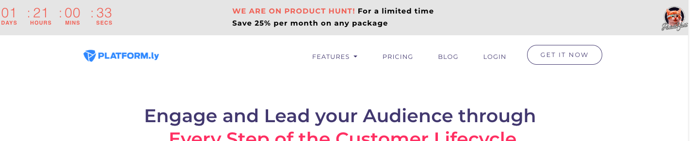 Product Hunt landing page popup
