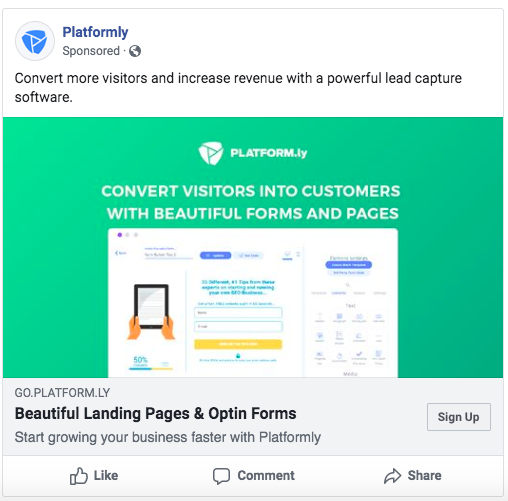 Facebook Ads for lead capture software