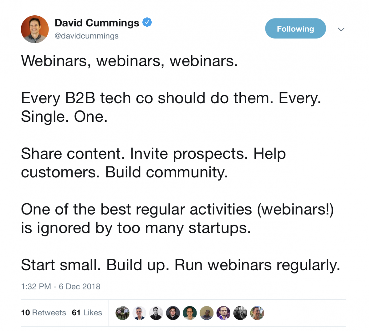 Tweet about importance of webinars